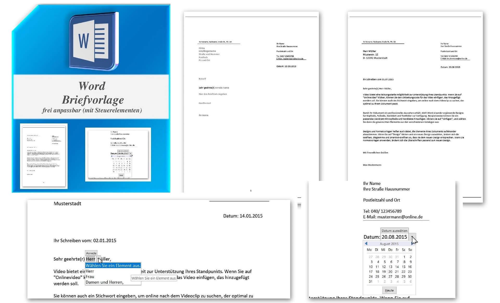 Word Briefvorlage mit Steuerelementen zum Download