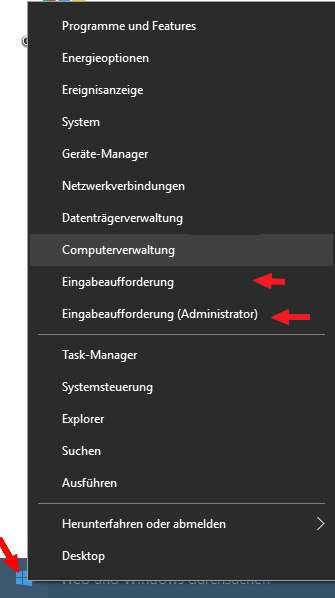 Windows 10 Eingabeaufforderung (Administrator)