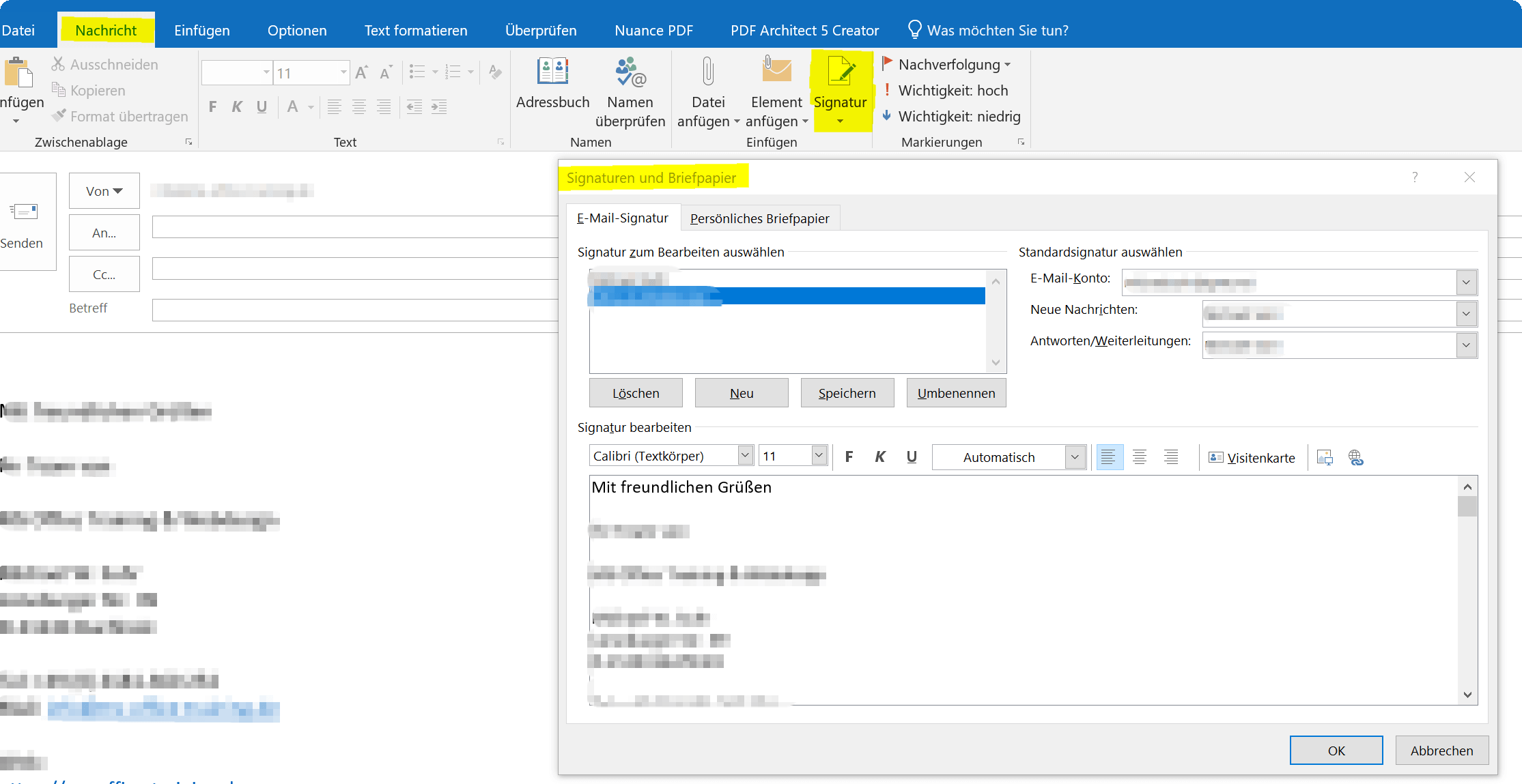 Signaturen in Outlook 2016