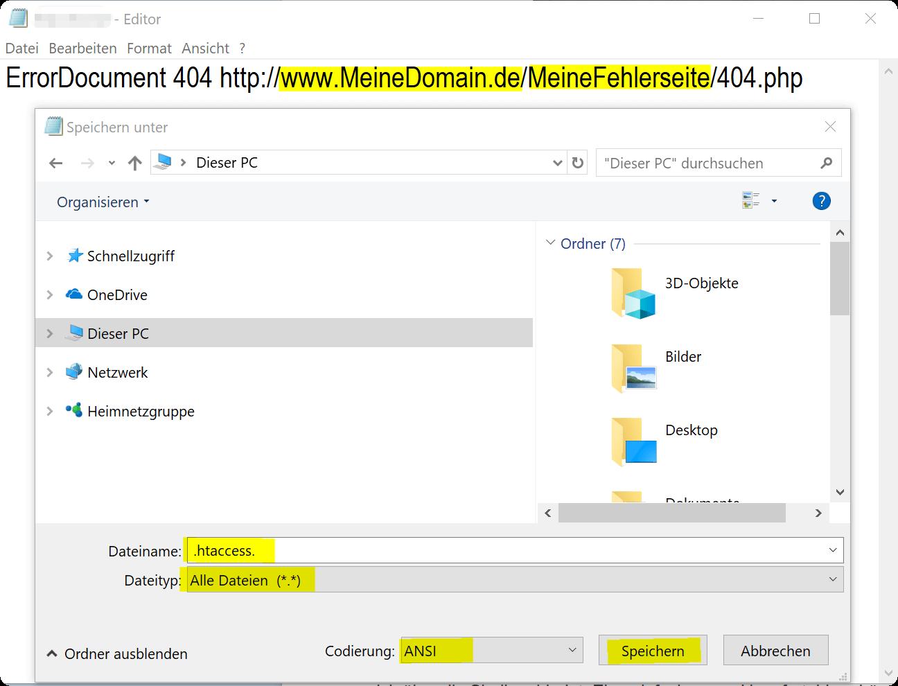 htaccess Datei erstellen
