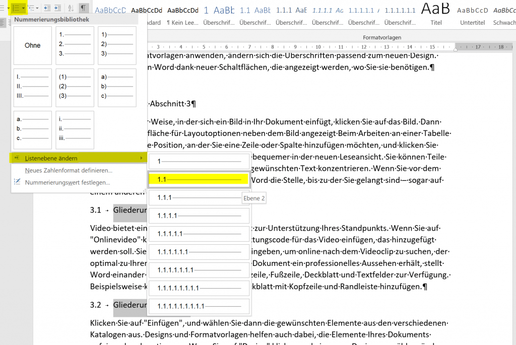 how to create table of contents in word 2016 manually