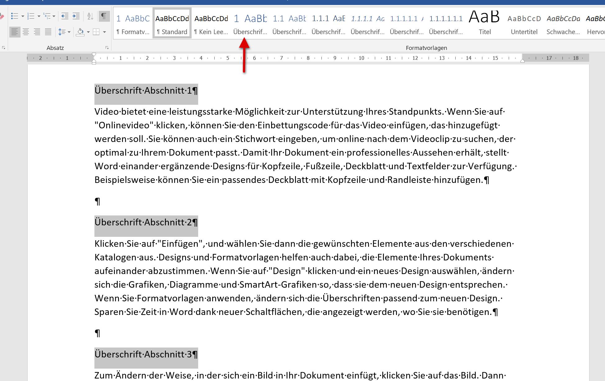 Überschrift in Word formatieren-Eine Ebene - Schritt1