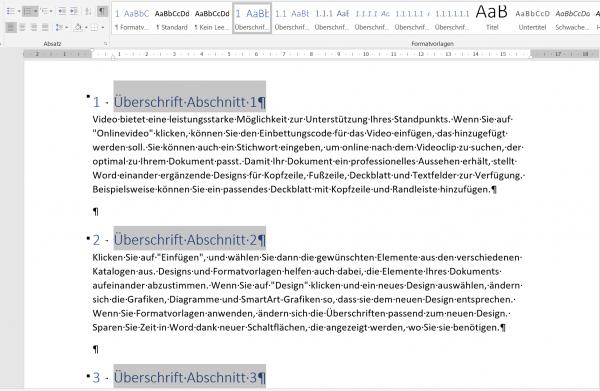 Überschrift in Word formatieren-Eine Ebene - Schritt2