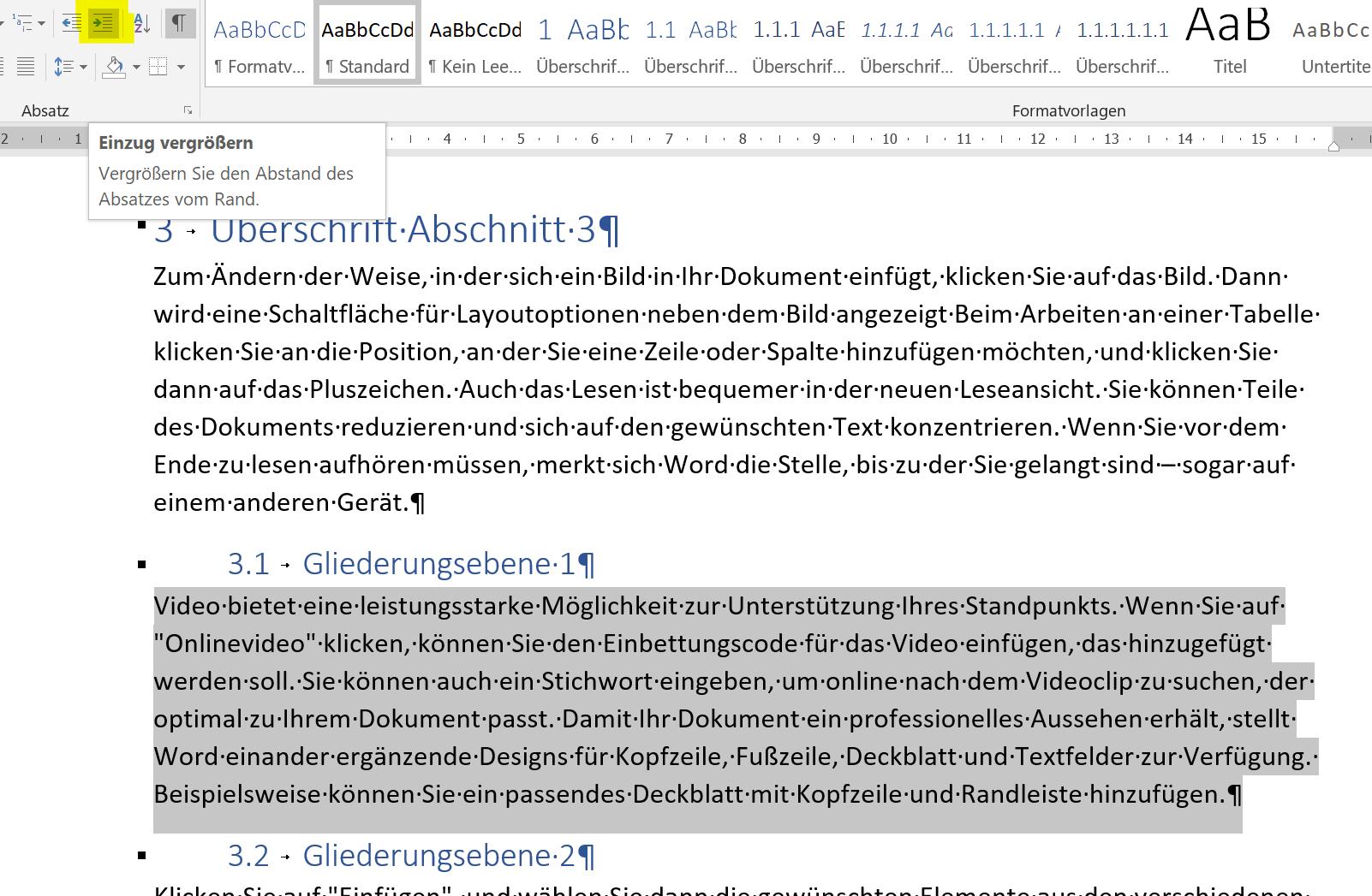 Überschriften einrücken Schritt4