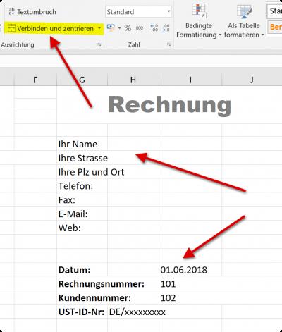 Absender in Excel Rechnungsvorlage