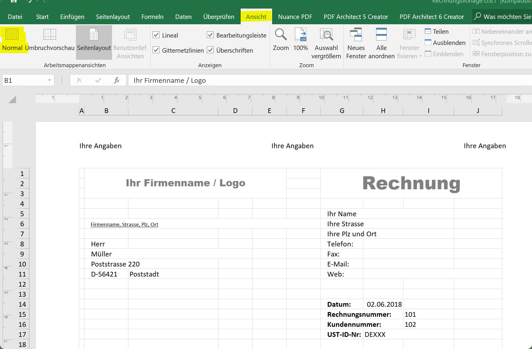 Ansicht Kopf-und Fußzeile in Excel beenden
