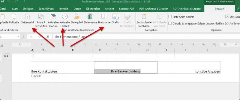 Elemente in Kopfzeile in Excel hinzufügen