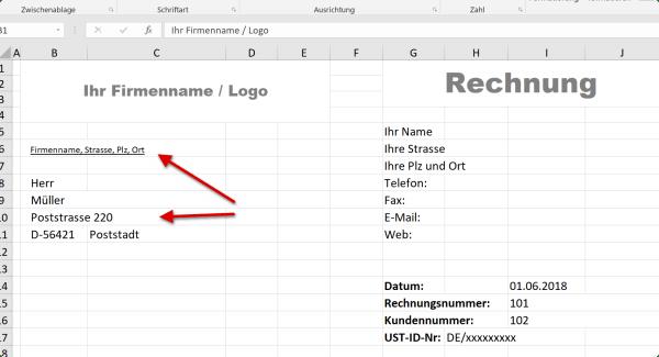 Empfängeradresse in Excel Rechnungsvorlage
