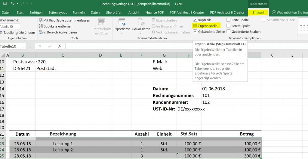Excel Dynamische Tabelle Ergebniszeile
