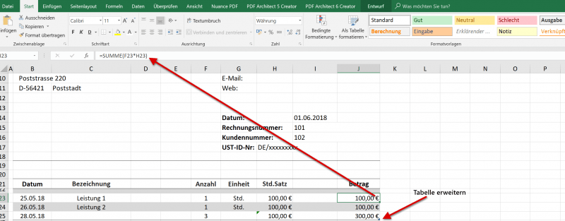 Excel Tabelle Betrag berechnen
