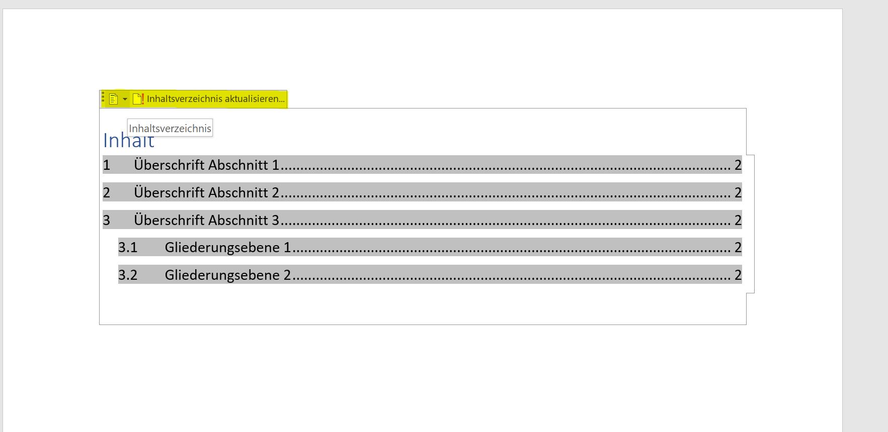 Inhaltsverzeichnis in Word ändern