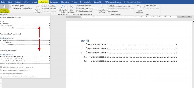 Inhaltsverzeichnis in Word einfügen