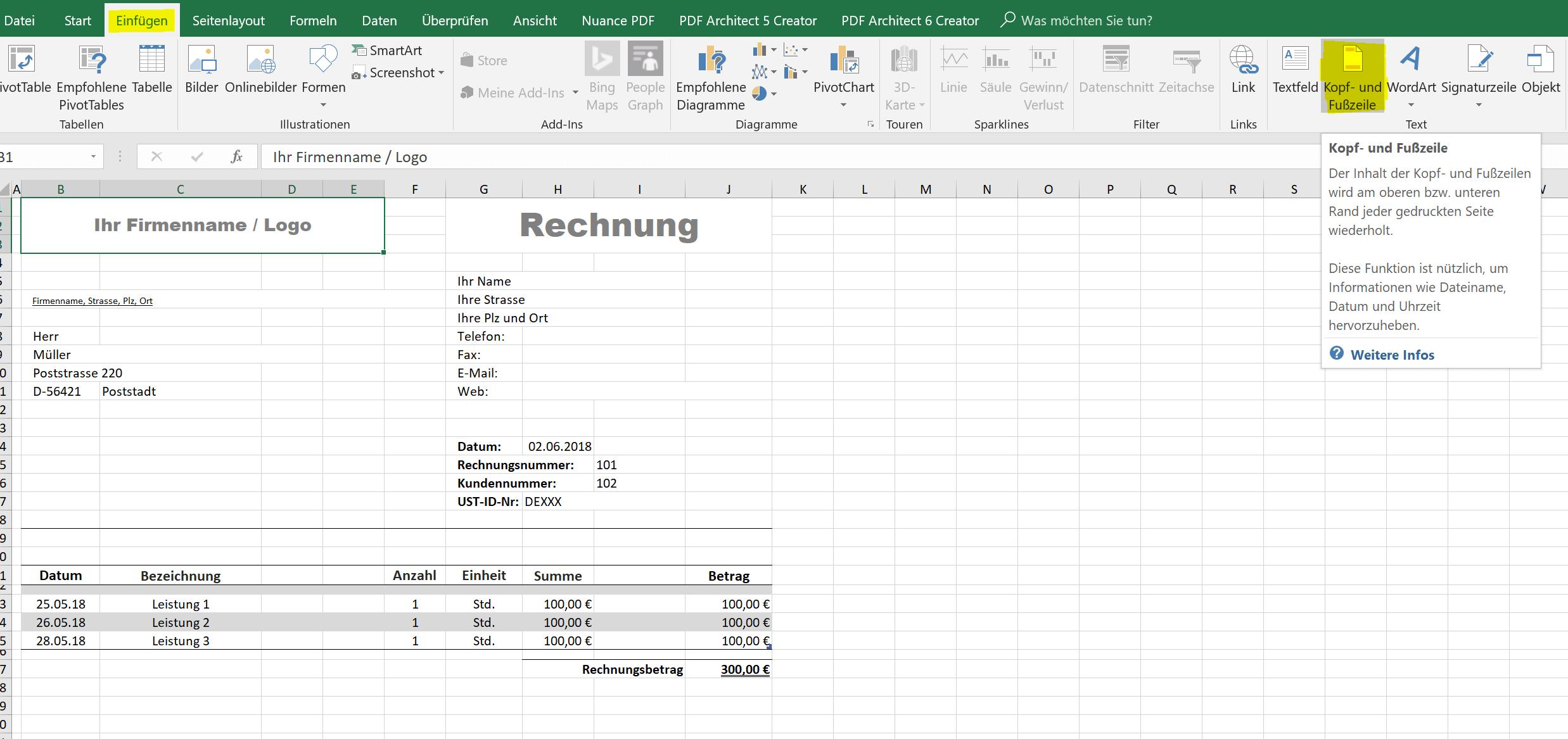 Kopf- und Fußzeile in Excel einfügen