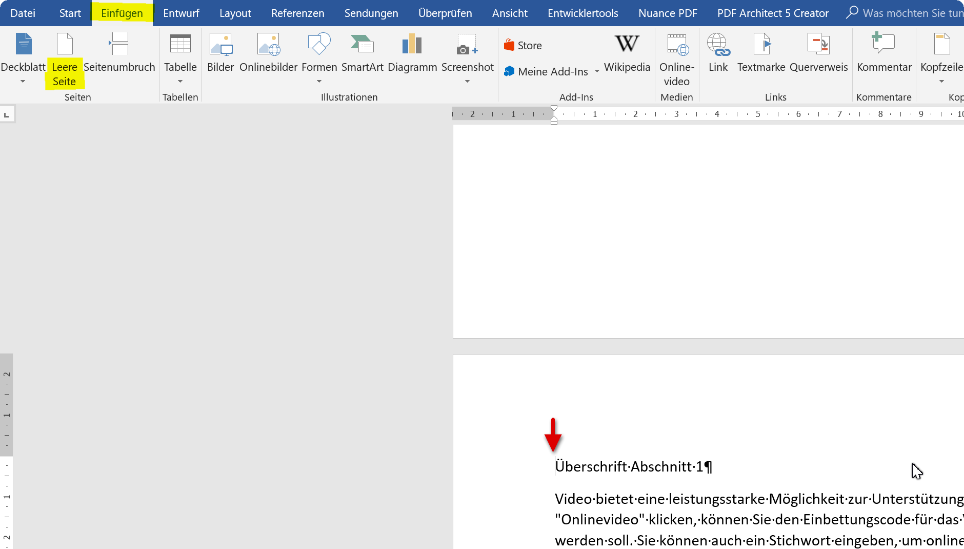 Leere Seite für Inhaltsverzeichnis