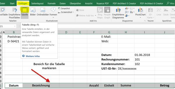 Markierung Dynamische Excel Tabelle