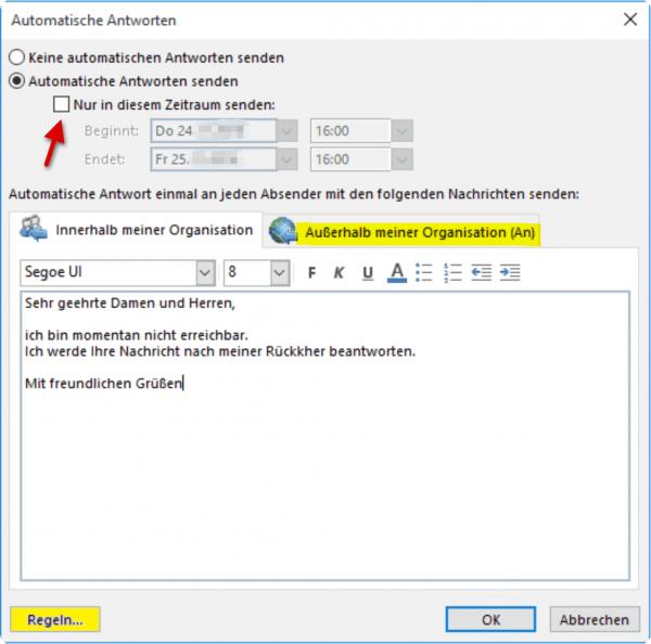 Outlook-Automatische Antwort vorbereiten