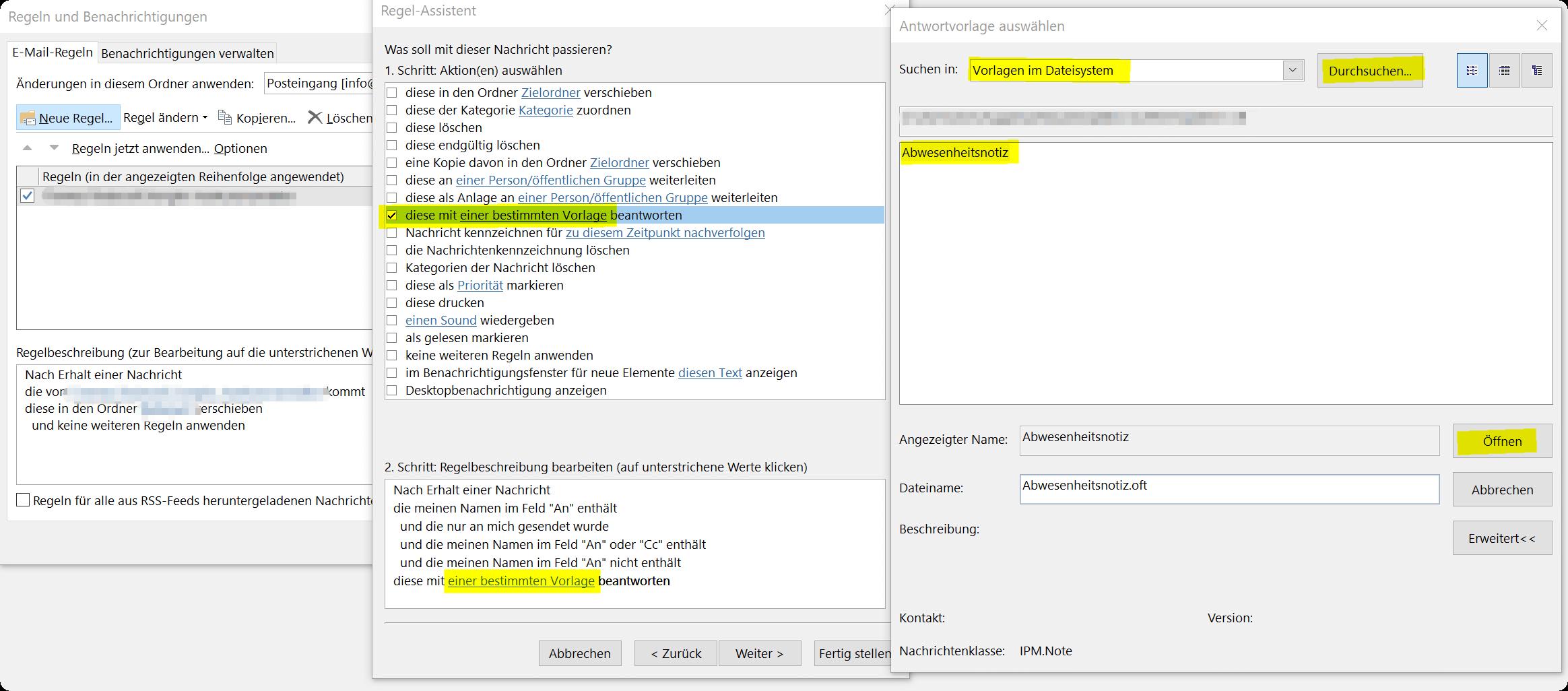 Outlook Regel Assistent - Antwortvorlage auswählen