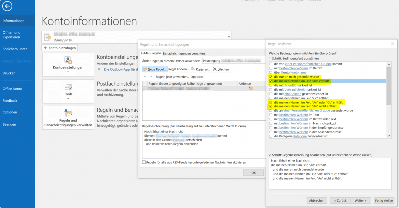 Outlook Regel Assistent - Bedingungen