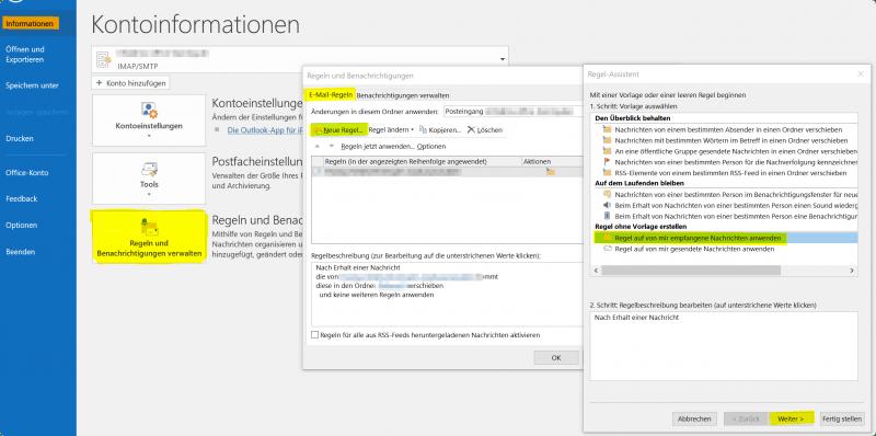 Outlook Regel Assistent - Neue Regel festlegen