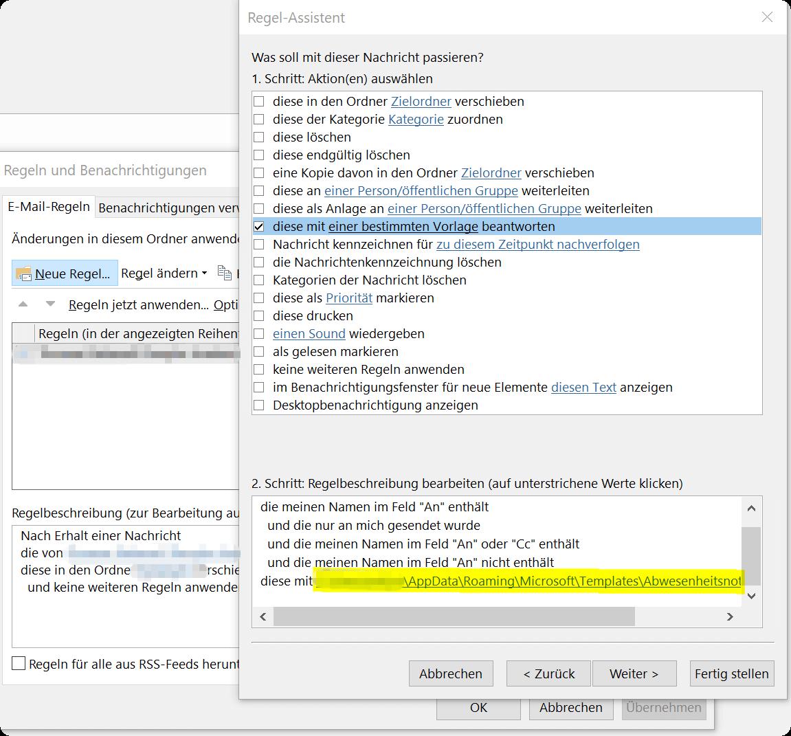 Outlook Regel Assistent - Regelbeschreibung