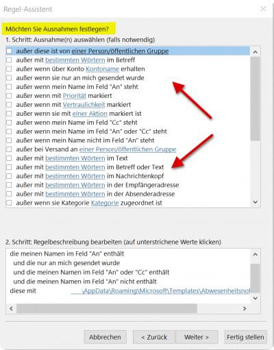 Outlook Regel Assistent - Regeln-Ausnahmen