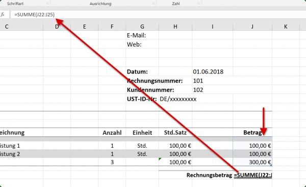 Rechnungsbetrag einfügen