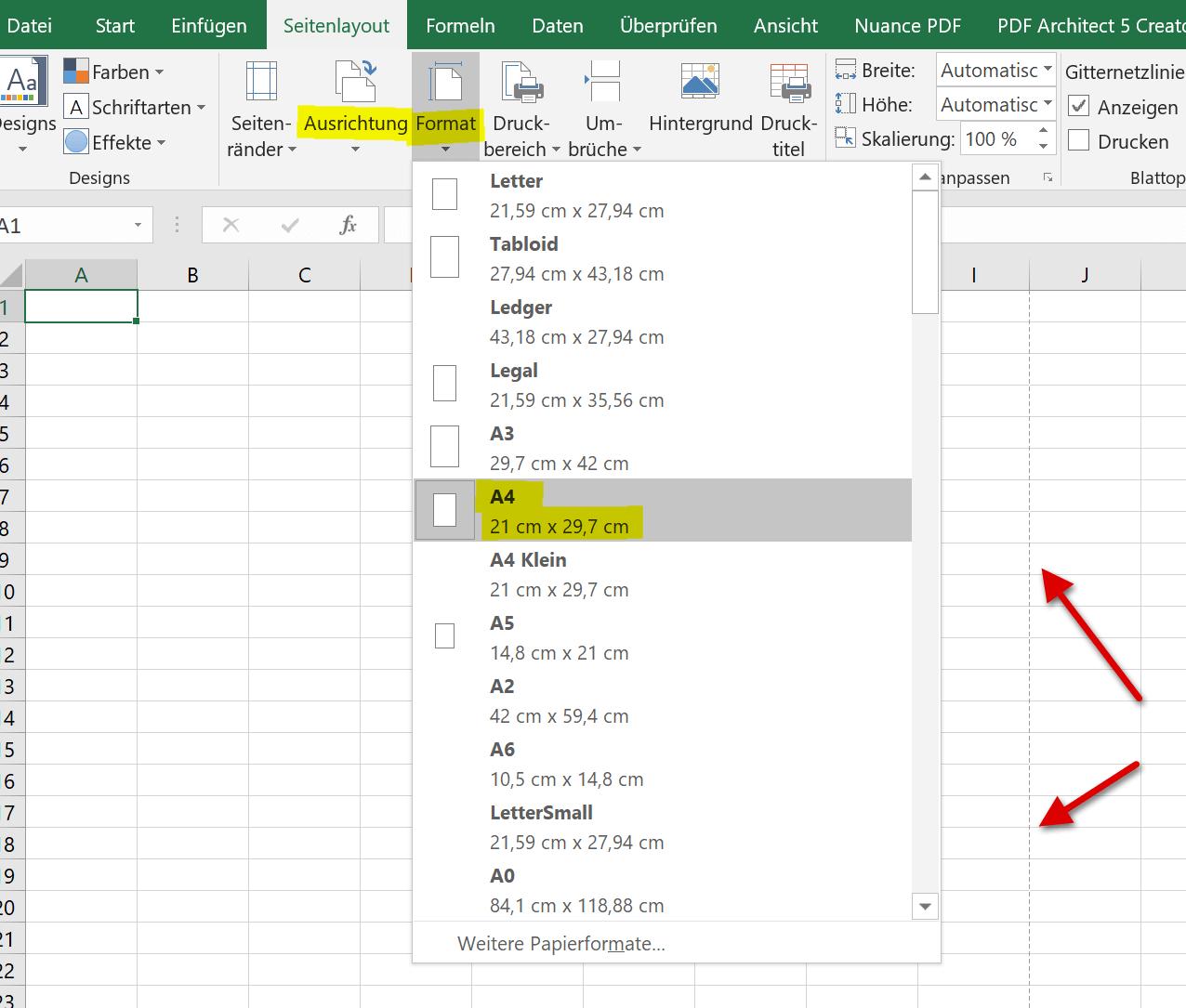 Seitenformat in Excel einrichten