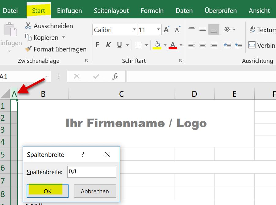 Spaltenbreite in Excel anpassen