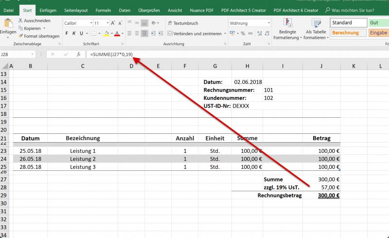 Ust. in Excel Rechnungsvorlage