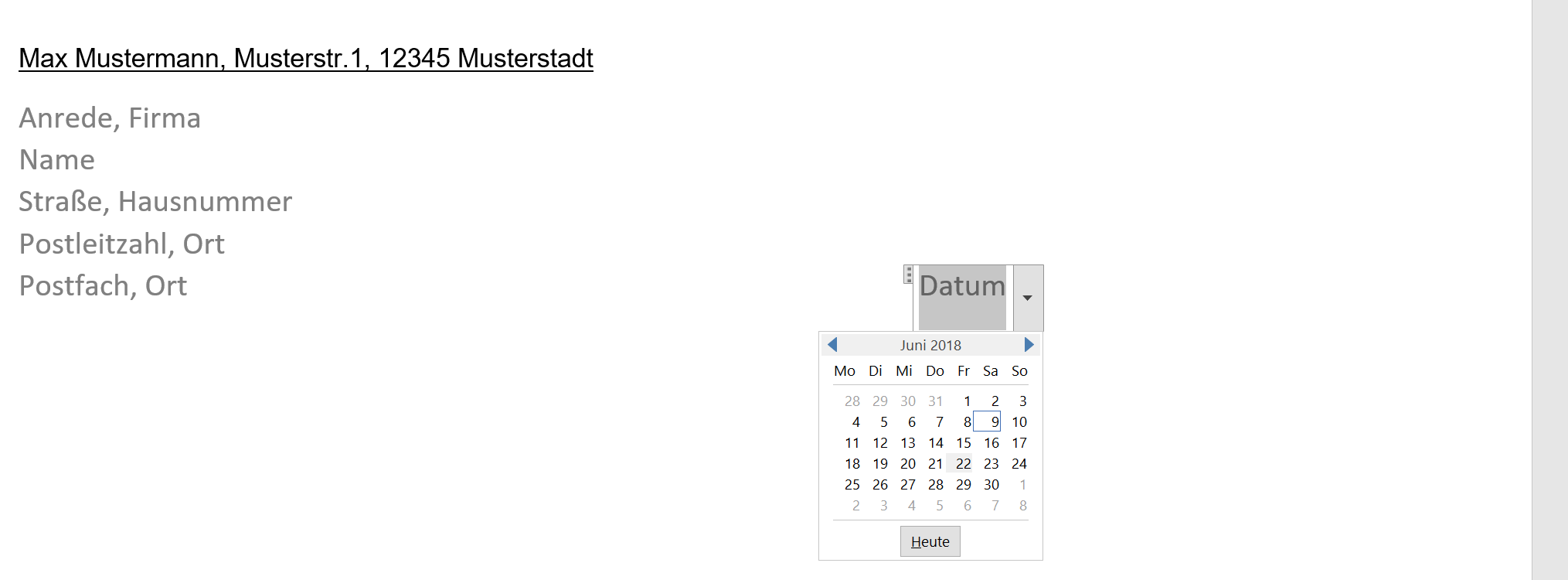 11. Datumsfeld in Word