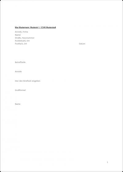 15. Fertige Briefvorlage mit Steuerelementen in Word