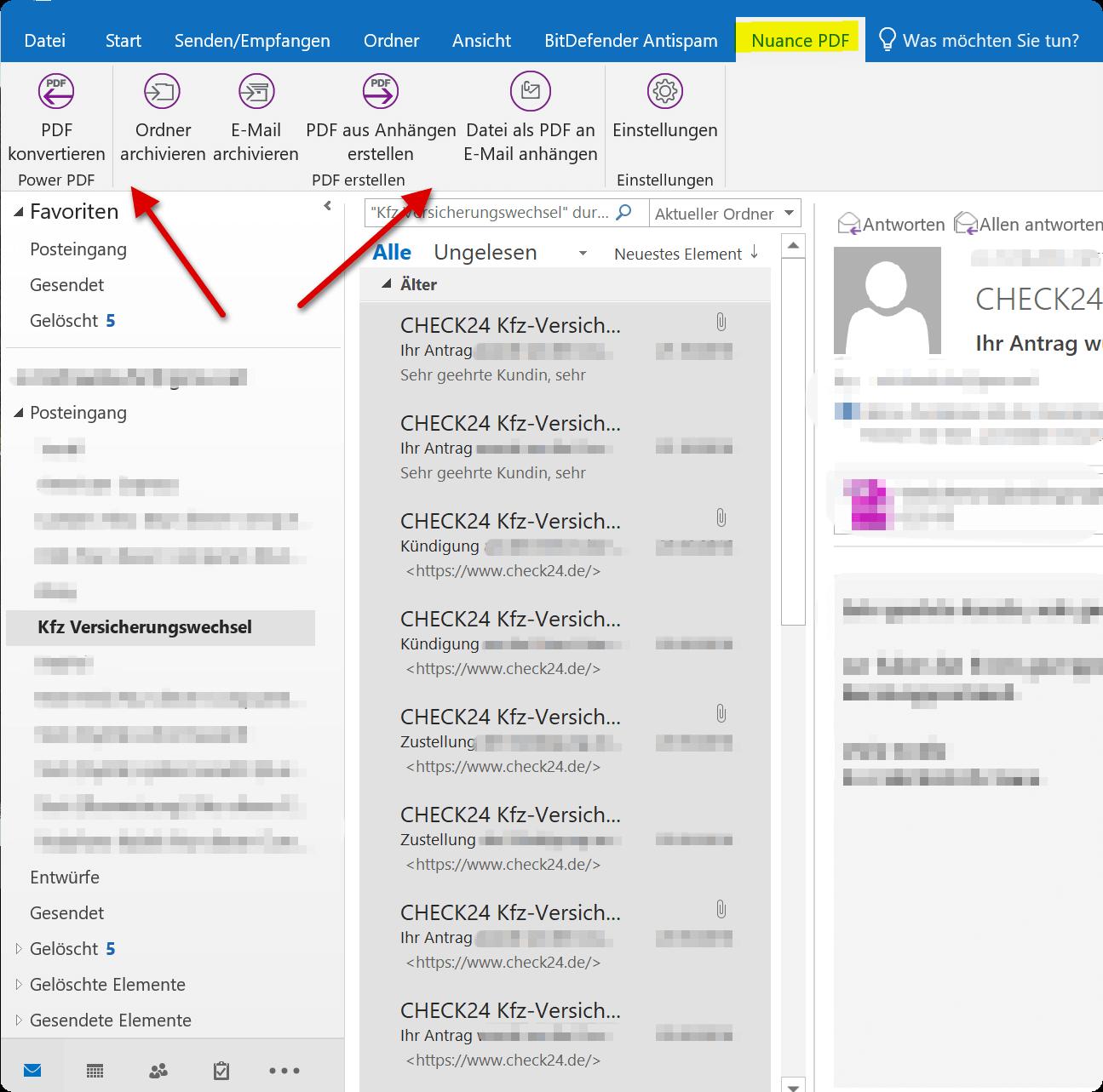3. E-Mails mit Nuance Power PDF archivieren