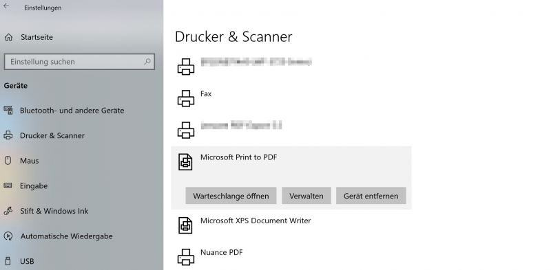 Virtuellen Drucker in Windows 10 aktivieren