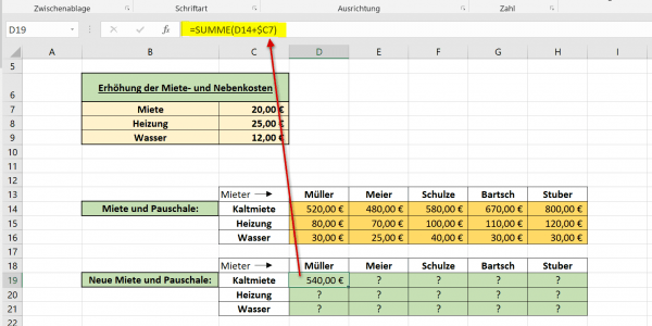 Gemischte Bezüge in Excel Abb.1