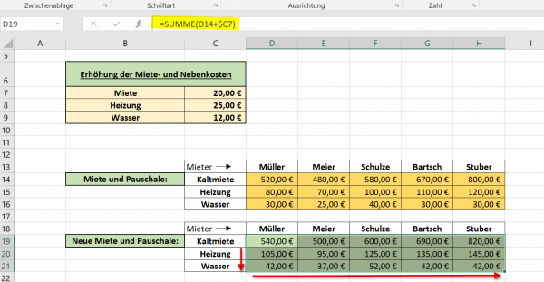 Gemischte Bezüge in Excel Abb.2