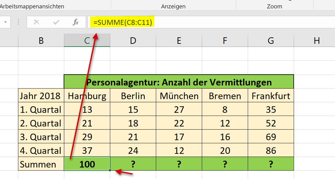 Relative Bezüge in Excel Abb.1