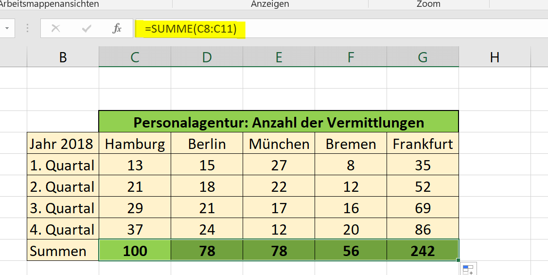 Relative Bezüge in Excel Abb.2