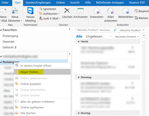 1. Neuen Ordner im Posteingang von Outlook erstellen