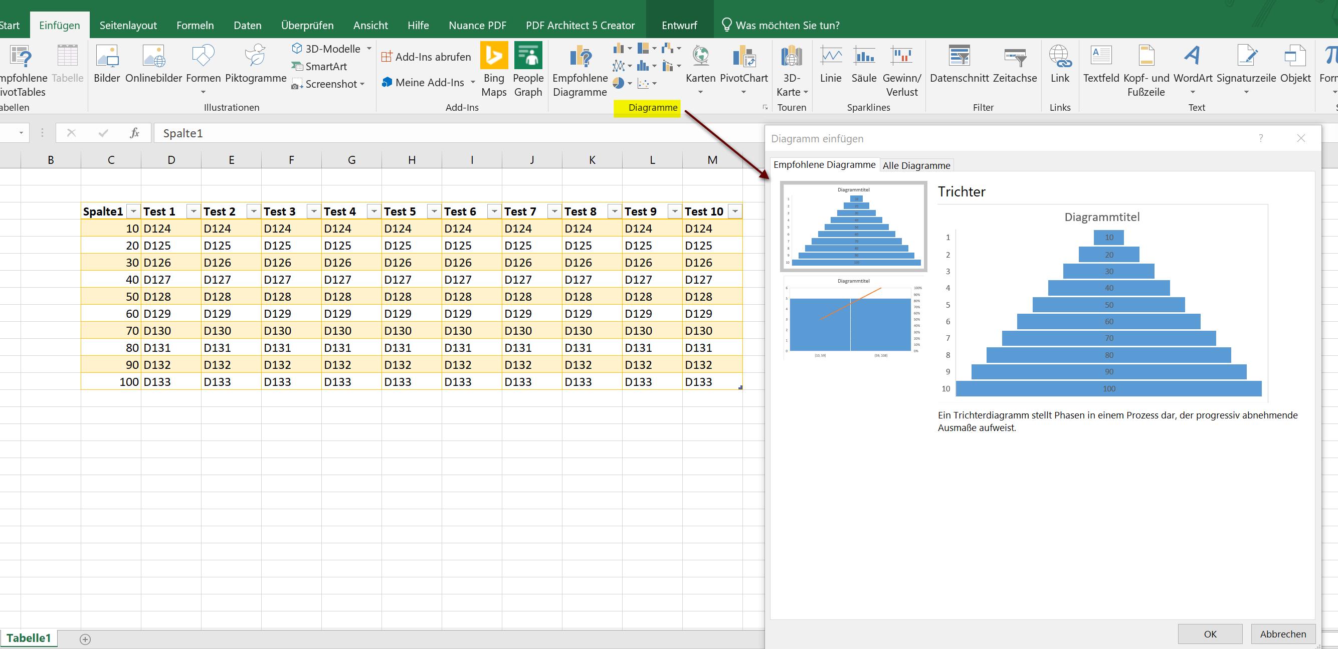 Excel 2019 - Trichterdiagramm