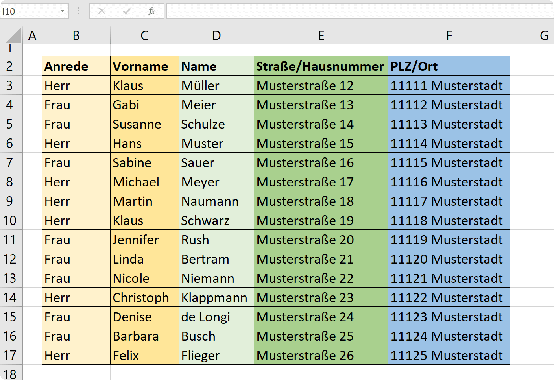 2. Excel Empfängerliste für Serienbrief