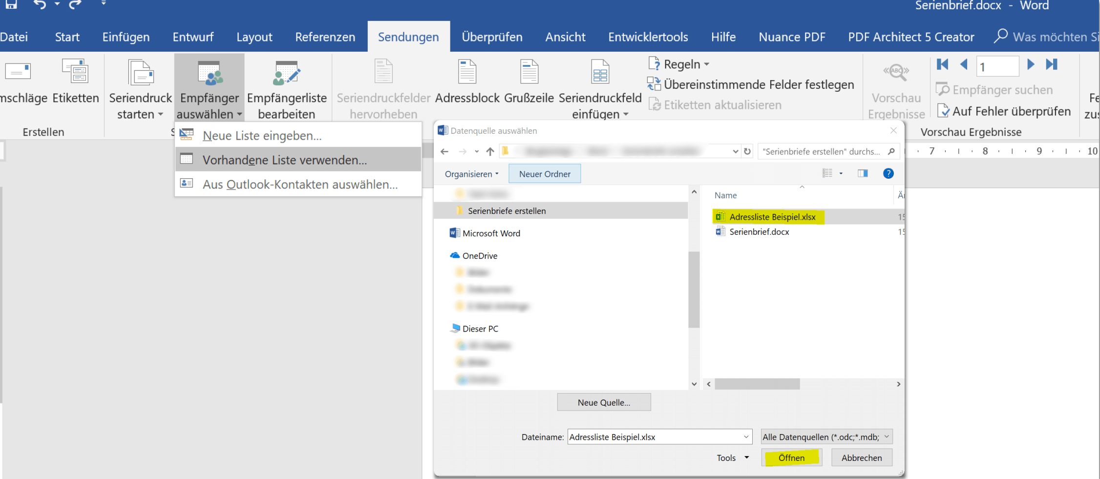 3. Excel Empfängerliste für Serienbrief