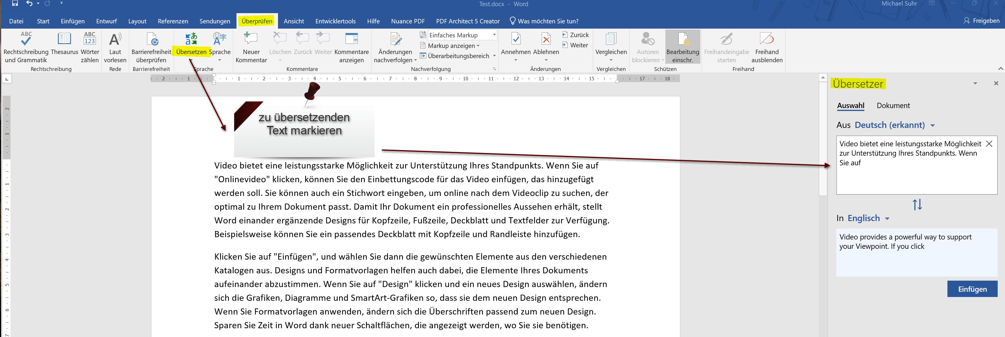 Word 2019 Übersetzer