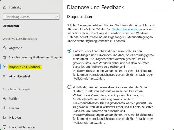 Windows 10 Diagnose und Feedback