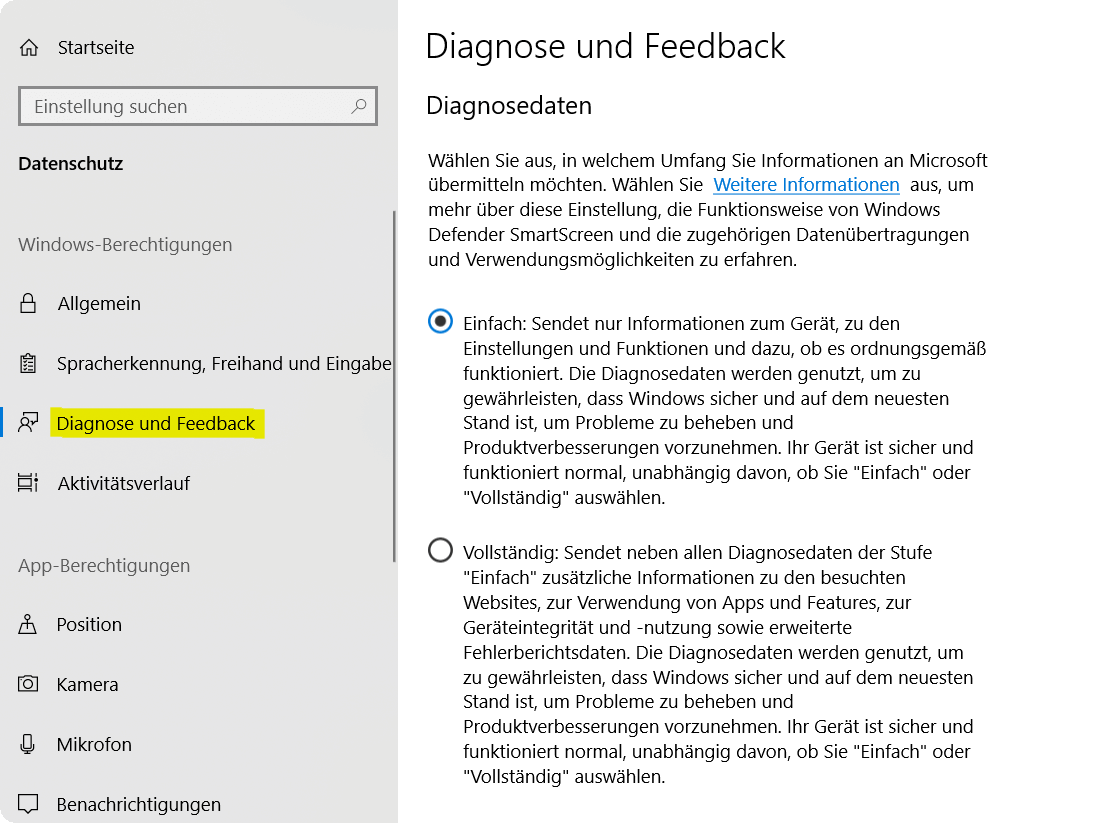 Windows 10 Diagnose und Feedback