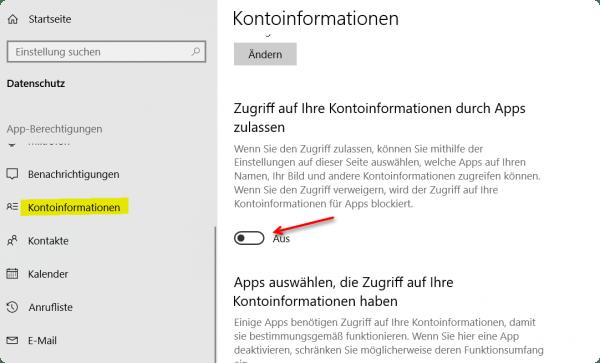 Windows 10 Kontoinformationen