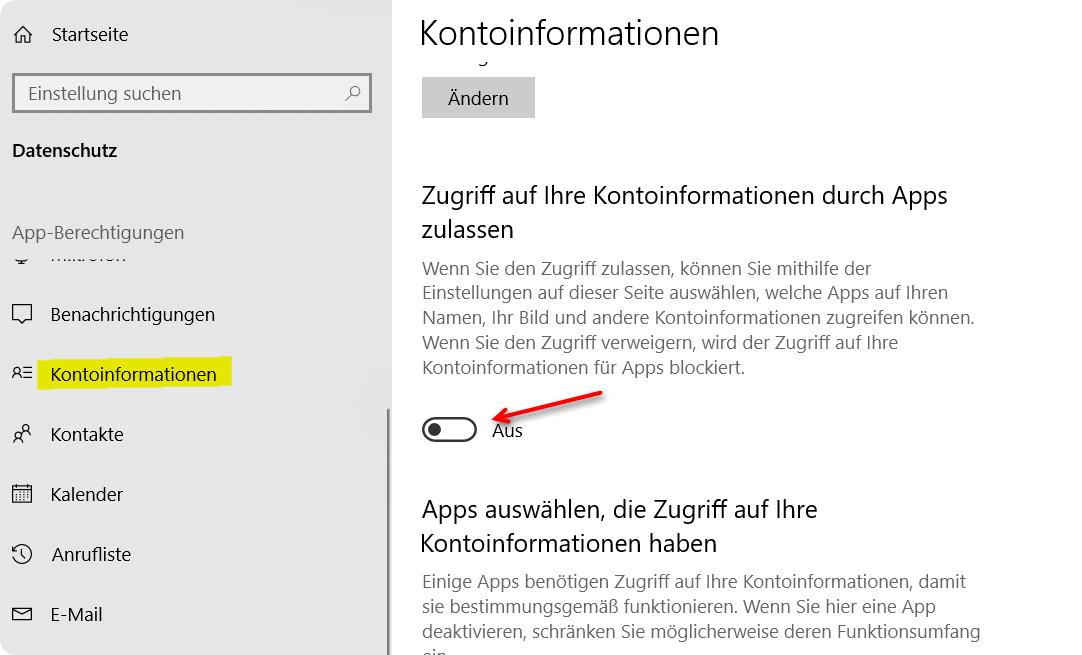 Windows 10 Kontoinformationen