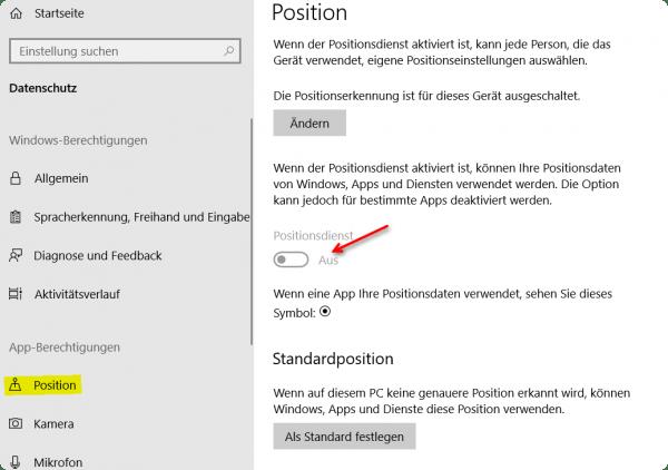 Windows 10 Positionsdienst