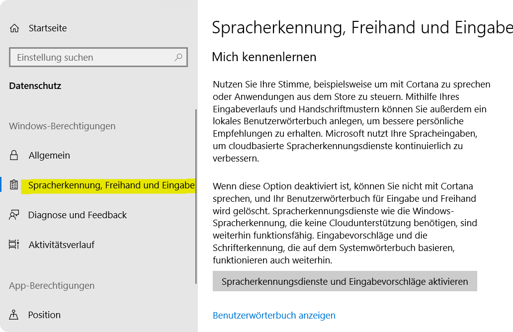 Windows 10 Spracherkennung