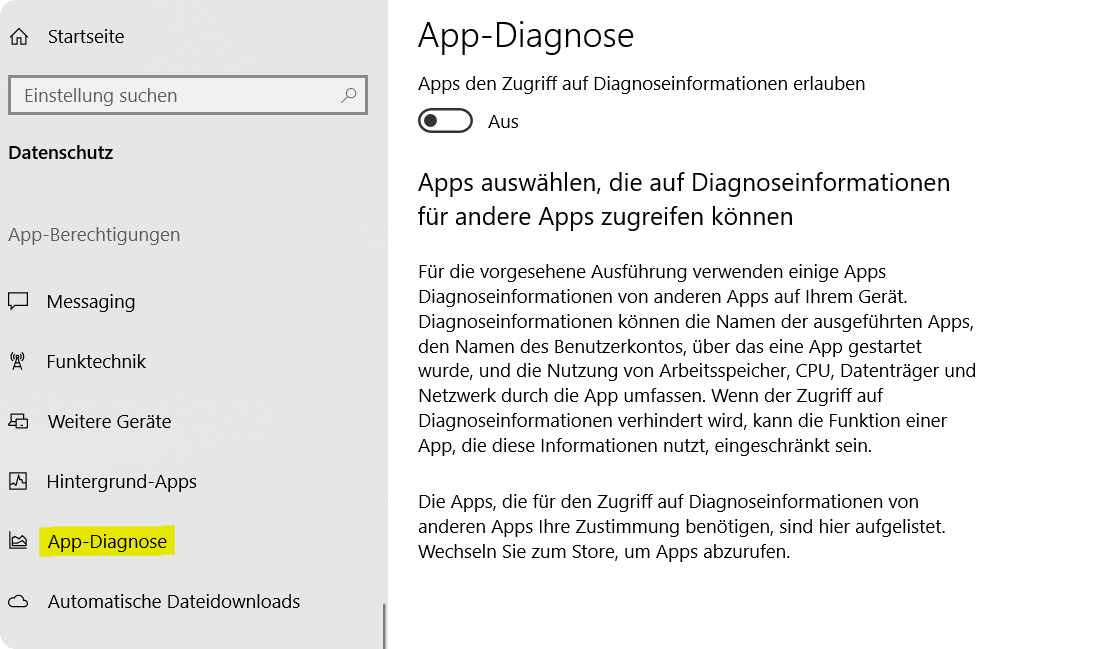 Windwos 10 App Diagnose