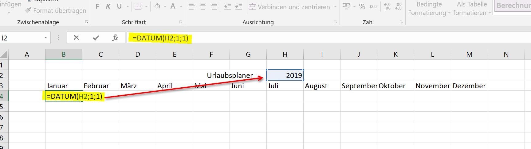 Kalenderstruktur aufbauen